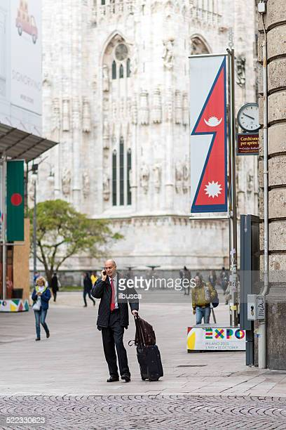expo milano 2015 universal exposition banners in milan city centre - nepali flag stock pictures, royalty-free photos & images
