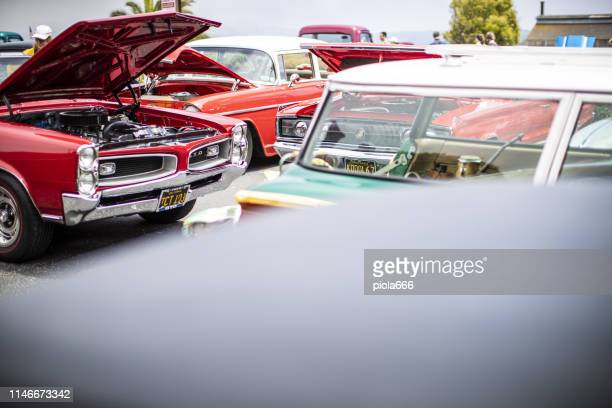 expo of vintage and pimped cars - pimped car stock photos and pictures