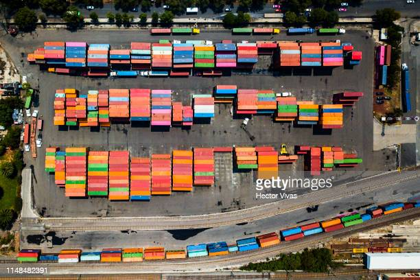 Export freight containers with Mexican produced goods are seen ready to be shipped to the US in the Pantaco customs complex on June 7 2019 in Mexico...