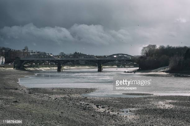 exposed bank of river thames in barnes, london. - beach stock pictures, royalty-free photos & images