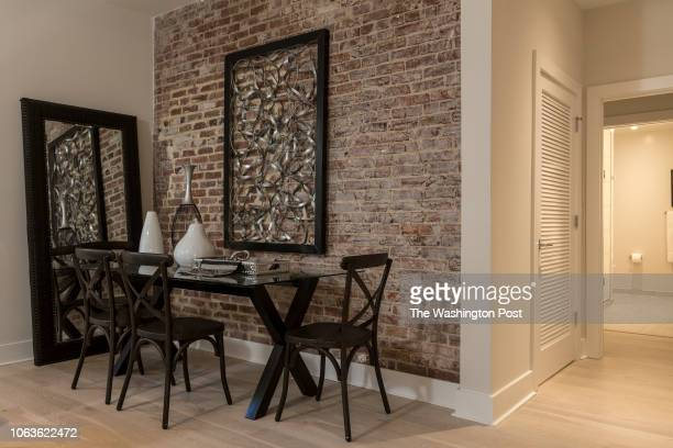 Exposed Brick Wall in Unit 208 of the historically renovated building at 1745 N Condominiums on October 31 2018 in Washington DC