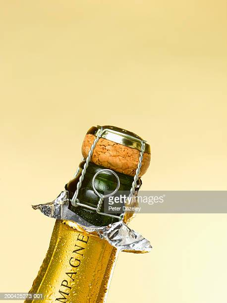 Exposed cork in champagne bottle, close-up