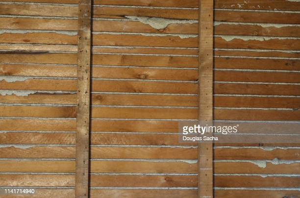exposed wall of lathe boards and plaster - studded stock pictures, royalty-free photos & images