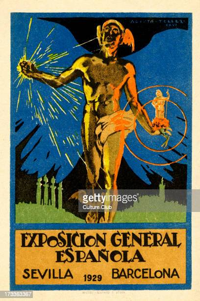 'Exposicion General Espñola' 1929 In Barcelon and Seville Poster with illustration by Aristo Tellez