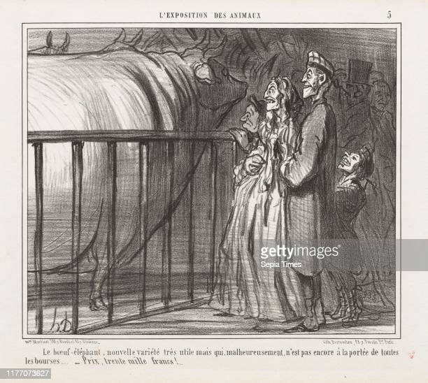 Exposition of Animals : Pl. 5, The Cow-Elephant, New Variety ,. Honore Daumier , Mon. Martinet, r. Rivoli, et 41 r. Vivienne. Lithograph; sheet: 27.8...
