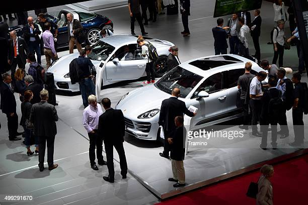 exposition of porsche cars on the motor show - motor show stock pictures, royalty-free photos & images