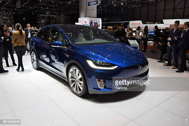 exposition of tesla on the motor show - car show stock pictures, royalty-free photos & images
