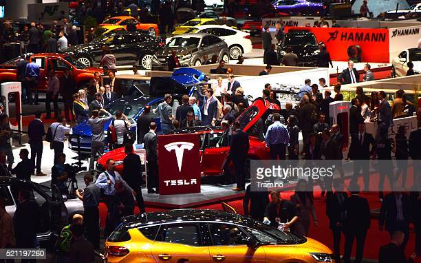 Exposition of Tesla vehicles on the motor show