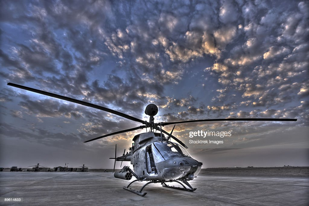 7 exposure HDR image of a stationary Kiowa OH-58D helicopter. : Stock Photo
