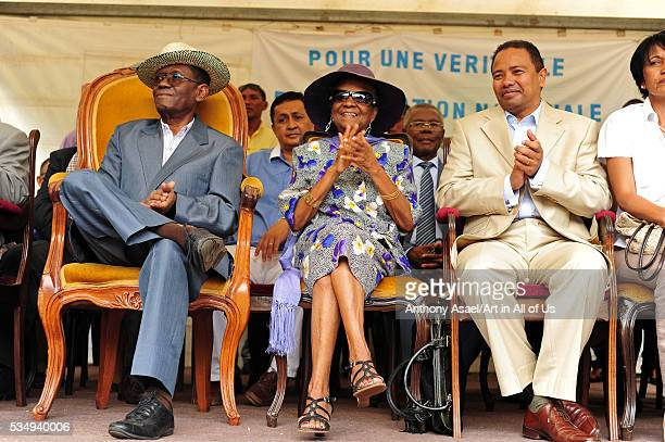 ExPresident Albert Zafy and his wife with Fetison Rakoto Andrianirina at Peaceful demonstration at Villa Elisabeth house of exMalagasy president...