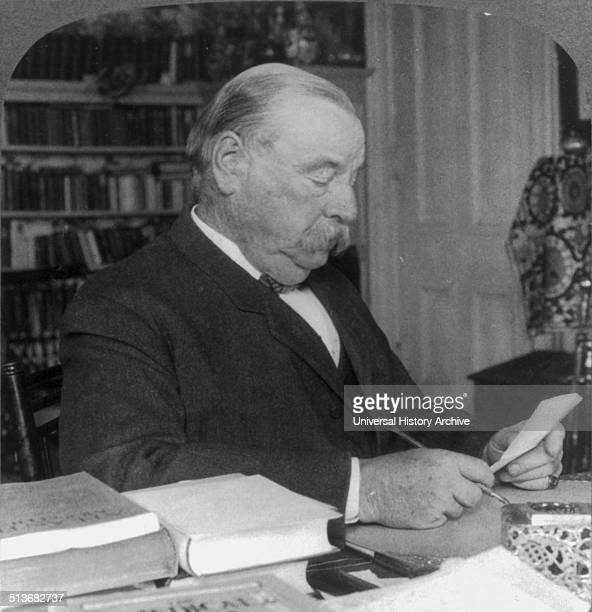 ExPresident Grover Cleveland at home in Princeton NJ At this point both a scholar and statesman sitting at his desk He is the only president to serve...