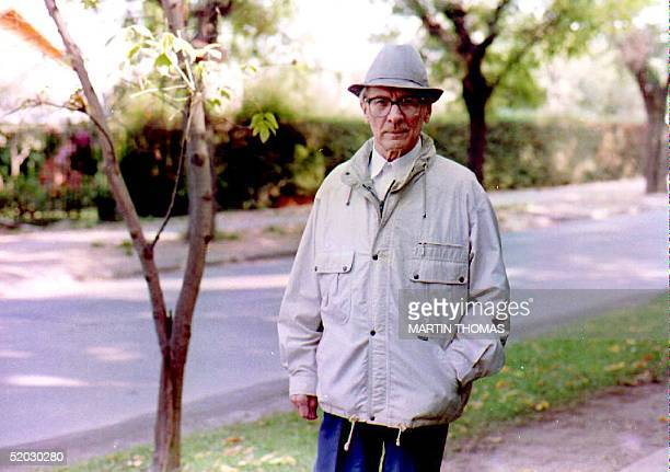 Expresident of the former Democratic Republic of East Germany Erich Honecker takes a walk 03 April 1993 in his neighborhood of La Reina in Santiago...