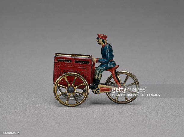 Express tricycle, Penny Toys, lithographed tin toys, ca 1910, made by JPH Meier, Nuremberg. Germany, 20th century. Milan, Museo Del Giocattolo E Del...