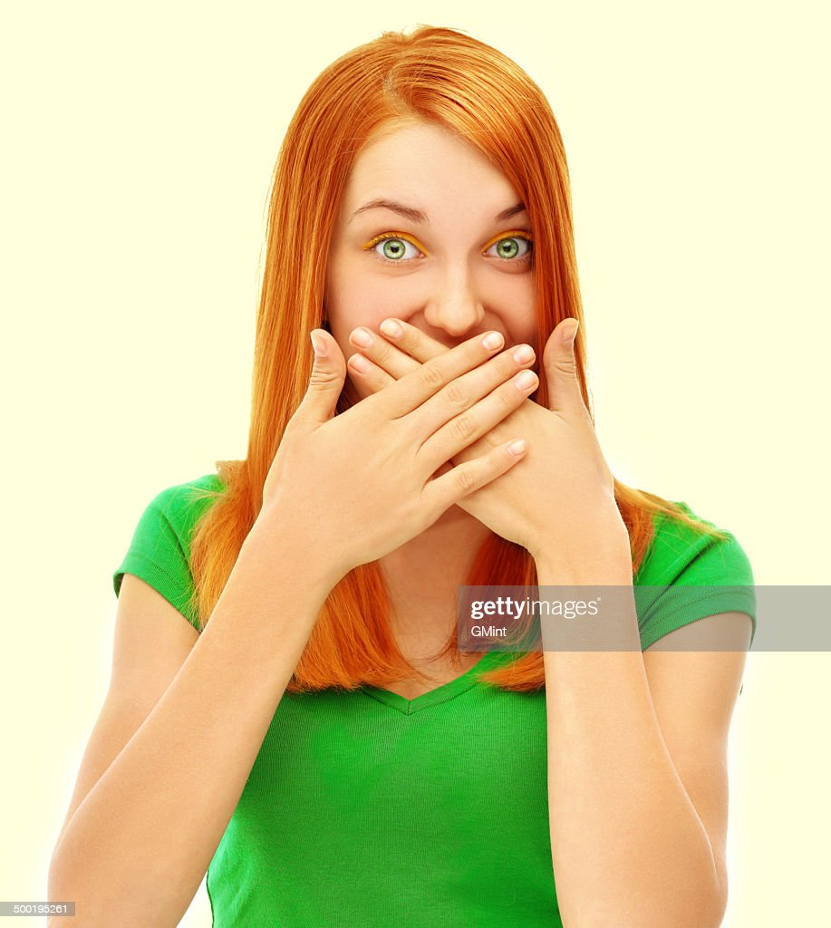 Expression. Face of bright red hair girl : Stock Photo