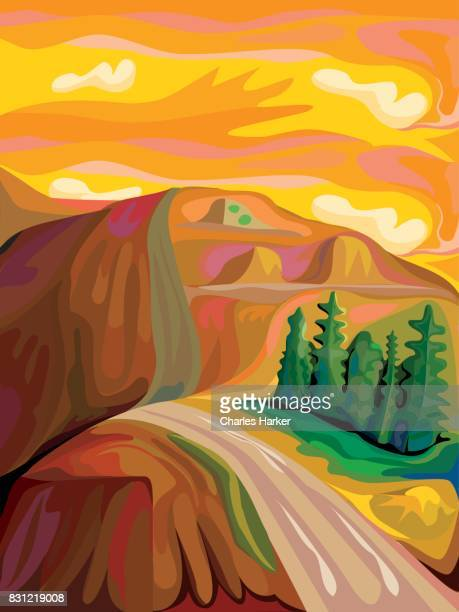 Expressionist Mountain Landscape with road in warm orange and browns.
