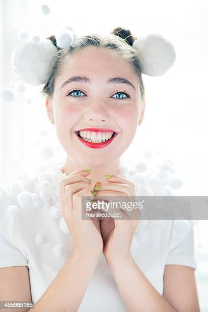 "expressive girl in white with red lipstick and christmas ornaments. - ""martine doucet"" or martinedoucet stock pictures, royalty-free photos & images"