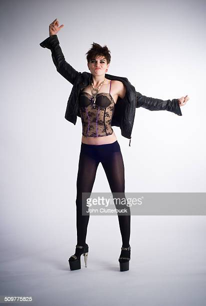 Expressive lesbian in leather and lace