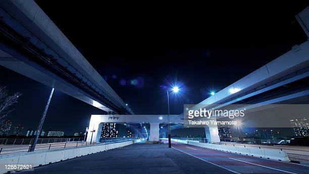 Expressways running in night at Tokyo