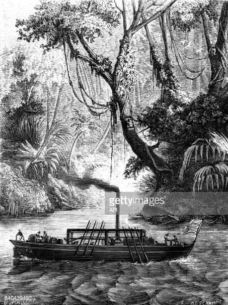 Expérience du premier bateau à vapeur américain menée par John Fitch sur le Delaware, près de Philadelphie aux Etats-Unis, en 1789.