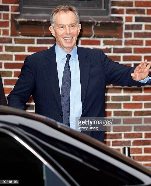 ExPrime Minister Tony Blair visits Late Show with David Letterman at the Ed Sullivan Theater on September 8 2009 in New York City
