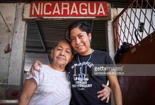 Exprisoner university student Ana Gabriela Nicaragua poses with her mother Juana Lopez at their house in Managua on March 06 2019 Nicaraguan mothers...