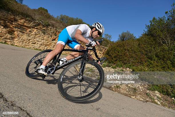 Ex-professional road race cyclist Marcel Wust tests a NeilPryde BURAsl road bike during a shoot for Procycling Magazine, December 16, 2012.