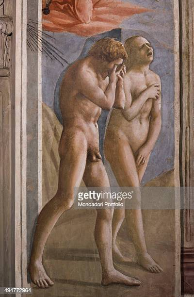 Expulsion from the Garden of Eden by Masaccio 14241425 15th Century fresco 260 x 88 cm Italy Tuscany Florence Church of Santa Maria del Carmine...