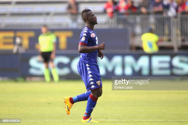 expulsion of Acquah Afriyie of Torino during the Serie A match between Cagliari Calcio and FC Torino at Stadio Sant'Elia on April 9 2017 in Cagliari...