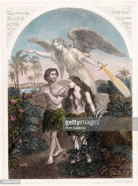 Expulsion of Adam and Eve from the Garden of Eden c1860 An angel with a flaming sword supervises the expulsion of Adam and Eve wearing aprons of fig...