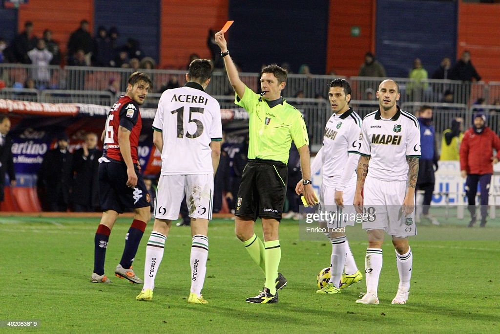 expulsion of Francesco Acerbi of Sassuolo during the Serie A match between Cagliari Calcio and US Sassuolo Calcio at Stadio Sant'Elia on January 24, 2015 in Cagliari, Italy.