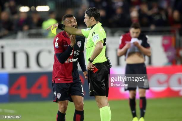 Expulsion of Joao Pedro of Cagliari during the Serie A match between Cagliari and Parma Calcio at Sardegna Arena on February 16 2019 in Cagliari Italy