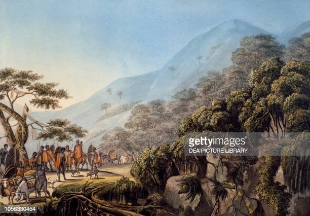 Expulsion of the Xhosa population from the Zuurveld, South Africa, coloured aquatint, engraving by Ludwig Gottlieb Portman from a drawing by Jacob...