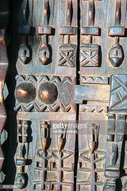 Exquisitely decorated Dogon wooden door