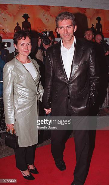 """Ex-racing driver Damon Hill and his wife Georgie arrive at the UK premiere of the film """"Nora"""" at the Everyman Cinema in Hampstead, London on May 18,..."""