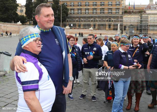 ExScotland international Doddie Weir poses with Scotland fans at Piazza del Popolo prior to the NatWest Six Nations match between Italy and Scotland...