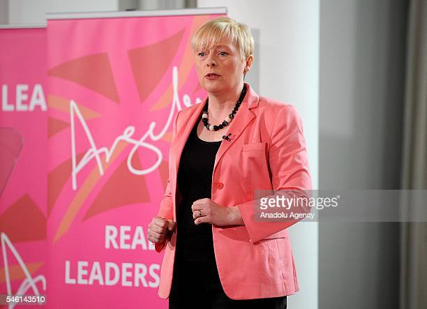 Exshadow cabinet minister Angela Eagle speaking at the launch of her leadership challenge against Labour Party leader Jeremy Corbyn in London United...