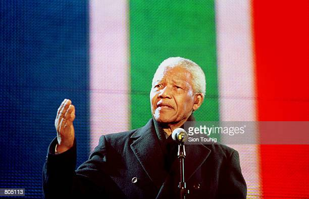 Ex-South African President Nelson Mandela speaks at the Celebrate South Africa Concert April 29, 2001 in Trafalgar Square in London, England. The...