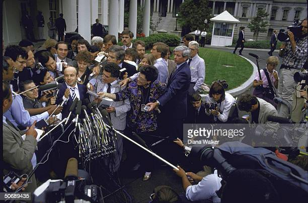ExSoviet Jewish Dissident Anatoly B Shcharansky surrounded by press including Chris Wallace after meeting with US Pres Ronald W Reagan