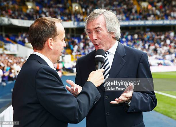 ExSpurs goalkeeper Pat Jennings is interviewed as he marks his 70th birthday during the Barclays Premier League match between Tottenham Hotspur and...