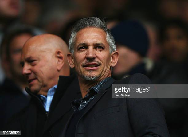 ExSpurs player Gary Lineker looks on prior to the Barclays Premier League match between Tottenham Hotspur and Manchester United at White Hart Lane on...