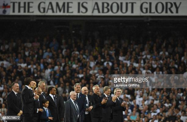 Ex-Spurs players look on during the closing ceremony after the Premier League match between Tottenham Hotspur and Manchester United at White Hart...