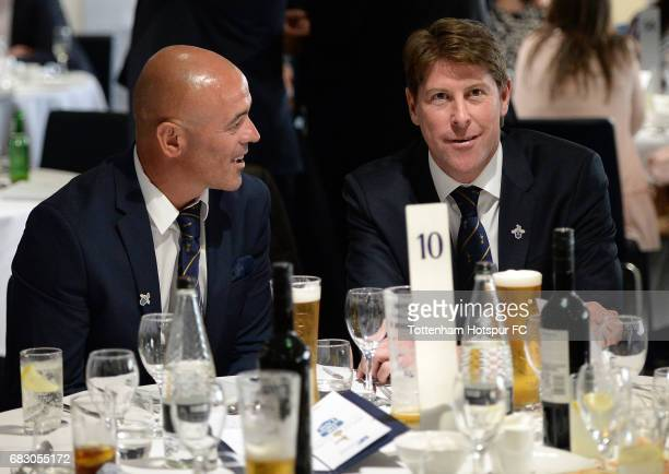 ExSpurs players Stephen Carr and Darren Anderton in discussion prior to the Premier League match between Tottenham Hotspur and Manchester United at...