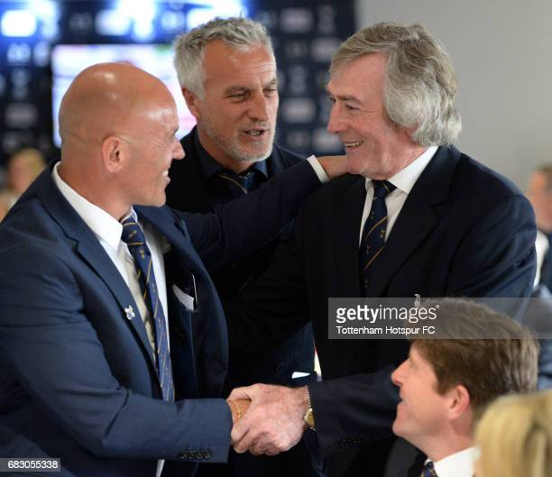 ExSpurs players Stephen Carr David Ginola and Pat Jennings in discussion prior to the Premier League match between Tottenham Hotspur and Manchester...