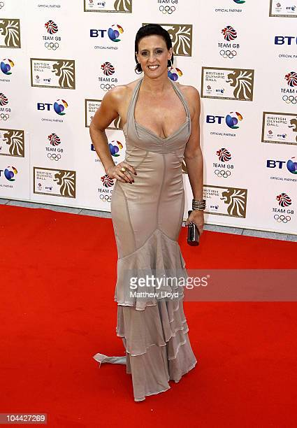 Exswimmer Karen Pickering poses on the red carpet at the British Olympic Ball at Grosvener House hotel on September 24 2010 in London England Over 60...