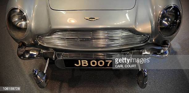 Extendable bumpers are pictured on a 1964 Aston Martin DB5 vehicle used by British actor Sean Connery when he played fictional spy charachter James...