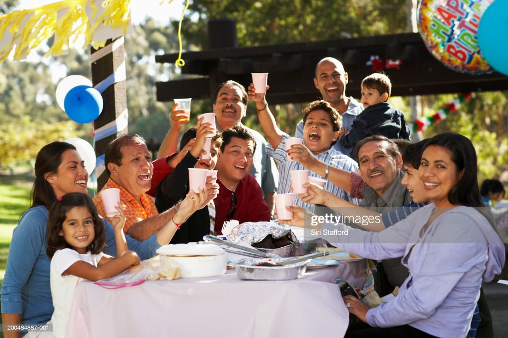 extended family having party in park stock photo getty images