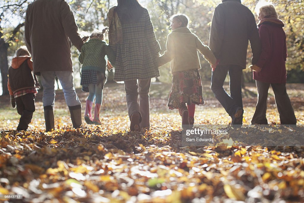 Extended family holding hands and walking outdoors : Stock Photo