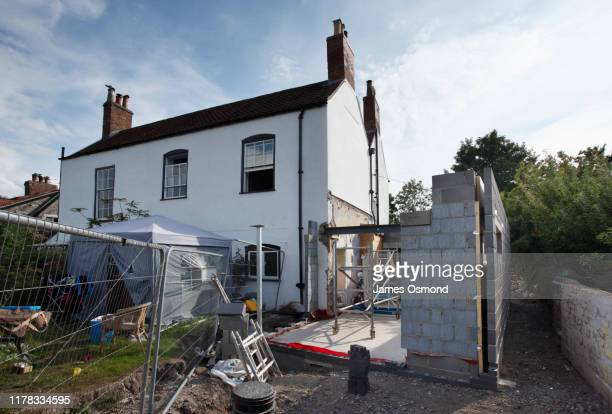 extension being built onto the side of a listed period property, mid project. - renovation stock pictures, royalty-free photos & images