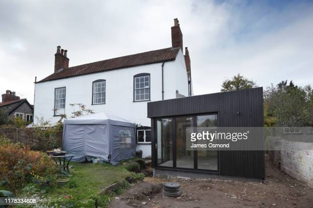 extension being built onto the side of a listed period property, mid project. - cottage stock pictures, royalty-free photos & images