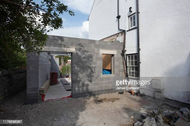 extension being built onto the side of a listed period property, mid project. - construction industry stock pictures, royalty-free photos & images